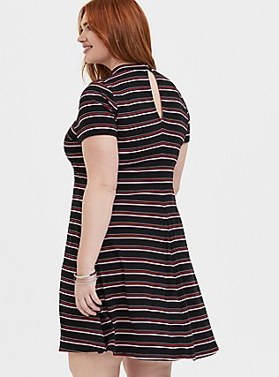 Plus Size Black & Multi Stripe Rib Mock Neck Trapeze Dress, , alternate