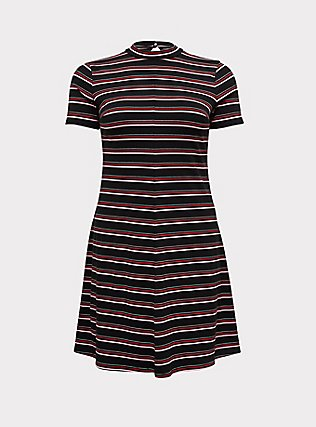 Plus Size Black & Multi Stripe Rib Mock Neck Trapeze Dress, , flat