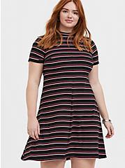 Black & Multi Stripe Rib Mock Neck Trapeze Dress, , hi-res