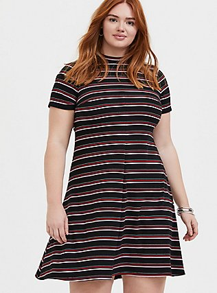 Plus Size Black & Multi Stripe Rib Mock Neck Trapeze Dress, , hi-res