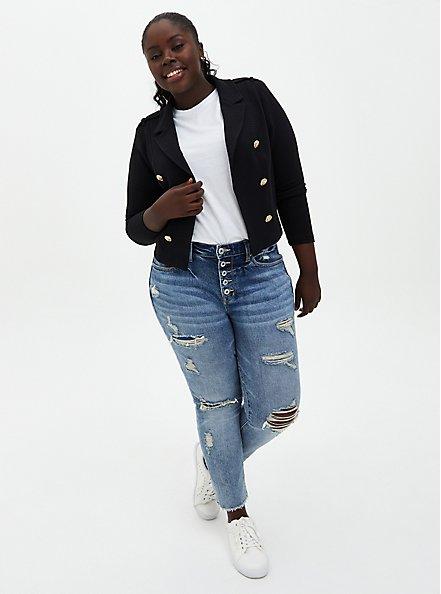 Black Textured Ponte Crop Military Jacket, DEEP BLACK, alternate