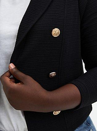 Plus Size Black Textured Ponte Crop Military Jacket, DEEP BLACK, alternate