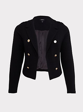 Plus Size Black Textured Ponte Crop Military Jacket, DEEP BLACK, flat