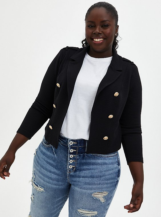Black Textured Ponte Crop Military Jacket, DEEP BLACK, hi-res