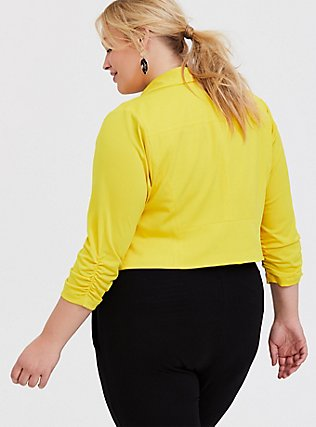 Lemon Yellow Crepe Open Front Blazer, YELLOW, alternate