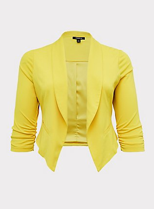 Lemon Yellow Crepe Open Front Blazer, YELLOW, flat