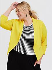 Lemon Yellow Crepe Open Front Blazer, YELLOW, hi-res