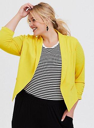 Plus Size Lemon Yellow Crepe Open Front Midi Blazer, YELLOW, hi-res