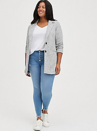 Light Grey Textured Longline Boyfriend Blazer, BLACK  WHITE, alternate