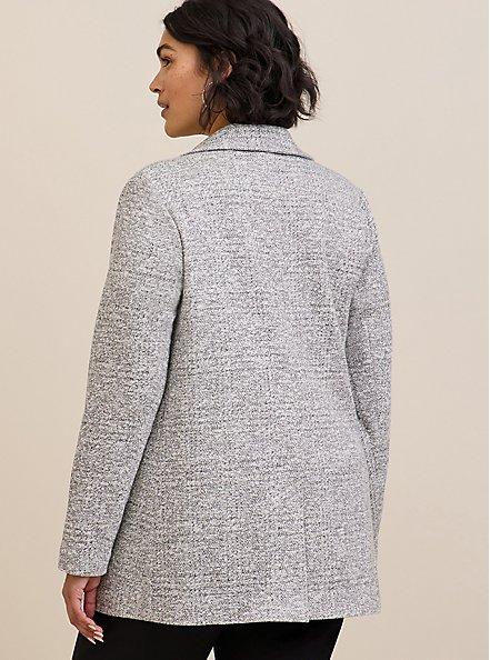 Light Grey Textured Longline Boyfriend Blazer, BLACK  WHITE, alternate