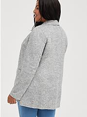 Plus Size Light Grey Textured Longline Boyfriend Blazer, BLACK  WHITE, alternate