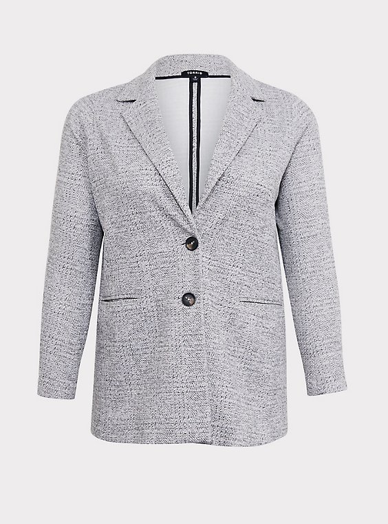 Light Grey Textured Longline Boyfriend Blazer, , flat
