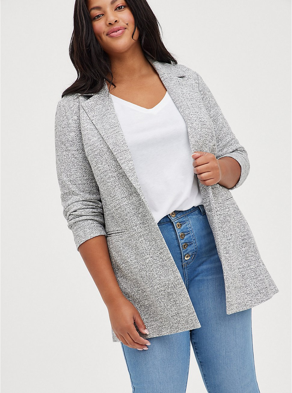 Plus Size Light Grey Textured Longline Boyfriend Blazer, BLACK  WHITE, hi-res