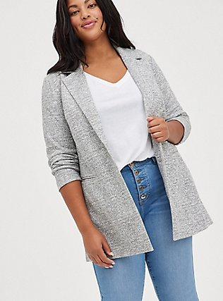 Light Grey Textured Longline Boyfriend Blazer, BLACK  WHITE, hi-res