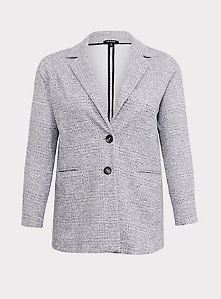 Light Grey Textured Longline Boyfriend Blazer, BLACK  WHITE, ls