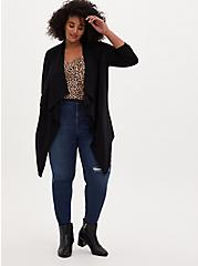 Black Ponte Drape Front Cardigan, DEEP BLACK, alternate