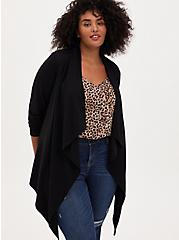 Black Ponte Drape Front Cardigan, DEEP BLACK, hi-res