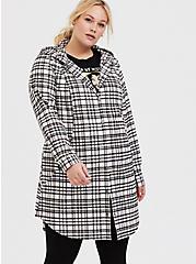 Plus Size Pink Plaid Flannel Hooded Anorak, PLAID, alternate