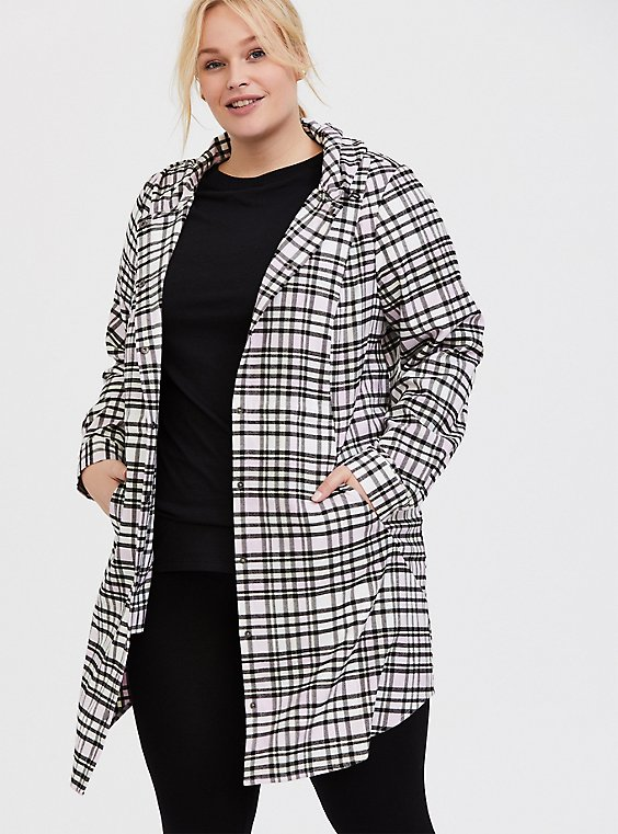 Plus Size Pink Plaid Flannel Hooded Anorak, , hi-res