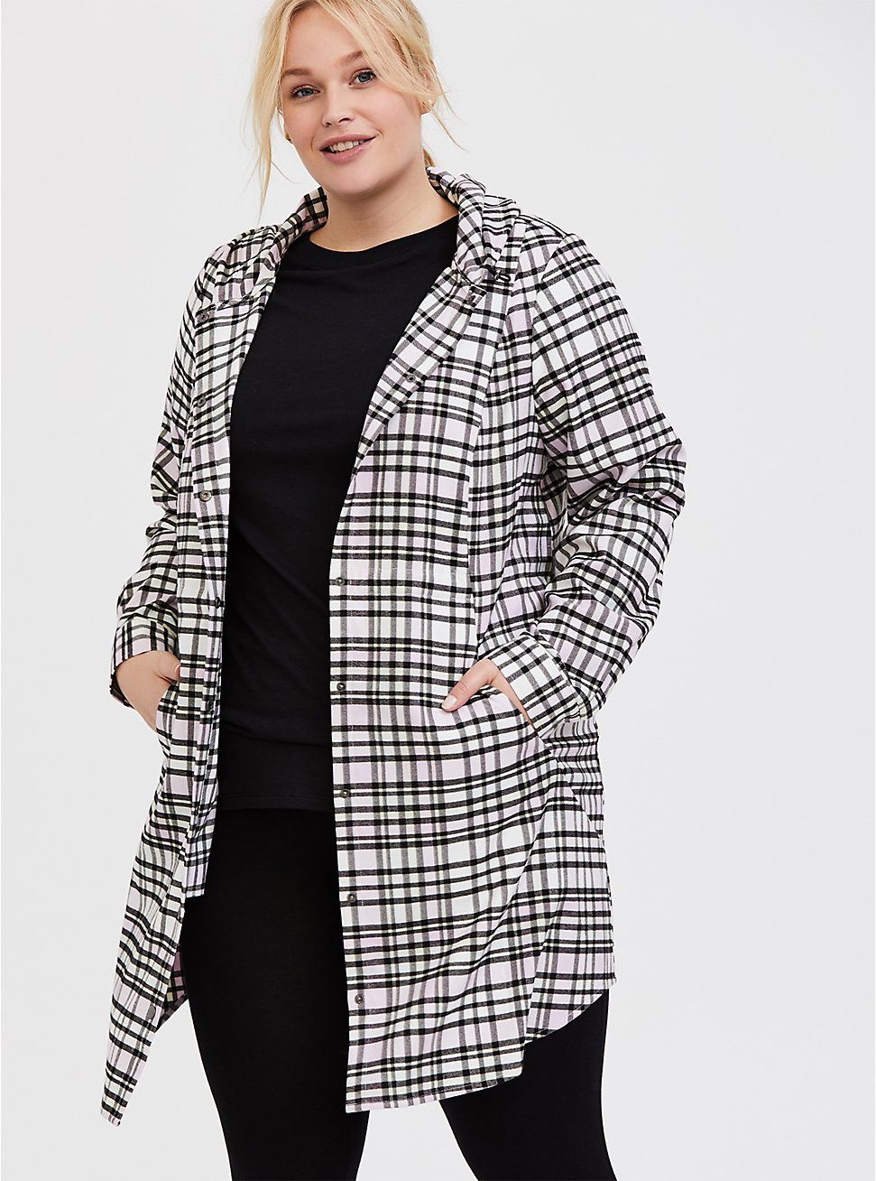 Plus Size Pink Plaid Flannel Hooded Anorak, PLAID, hi-res