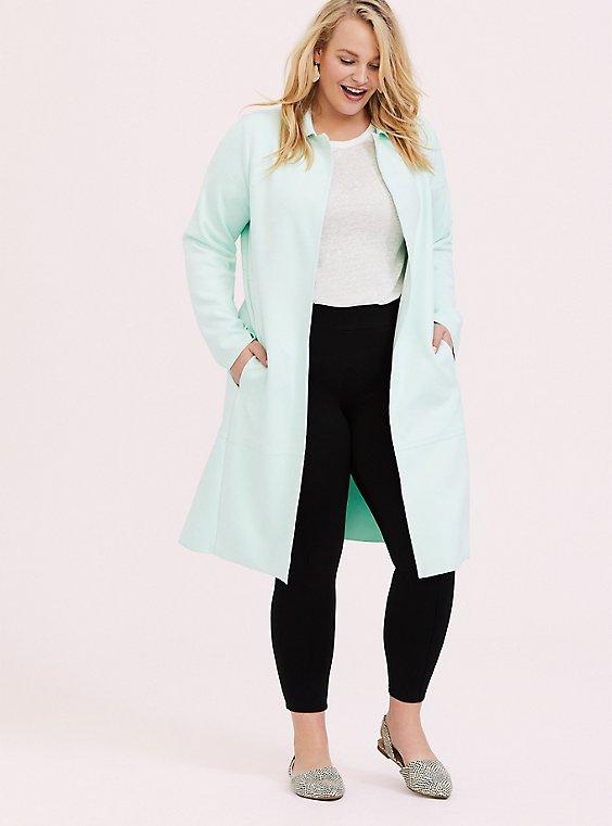 Mint Green Faux Suede Longline Jacket, , hi-res