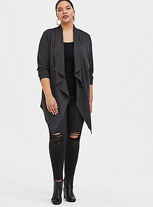 Charcoal Grey Ponte Drape Front Cardigan, GREY, alternate