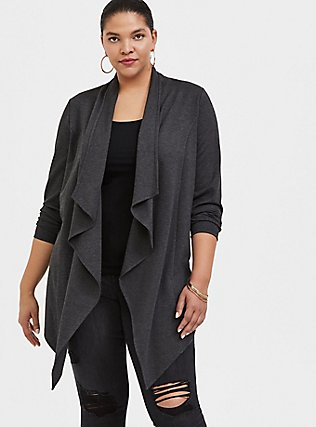Charcoal Grey Ponte Drape Front Cardigan, GREY, hi-res