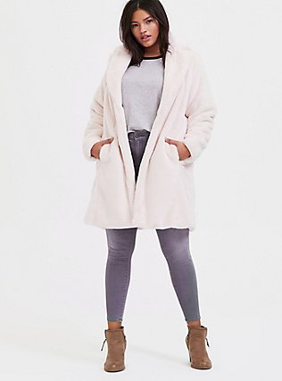 Light Pink Faux Fur Plush Longline Coat, PINK, alternate