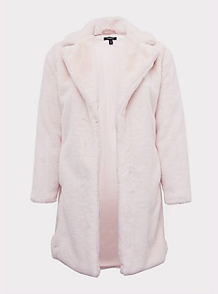 Light Pink Faux Fur Plush Longline Coat, PINK, flat