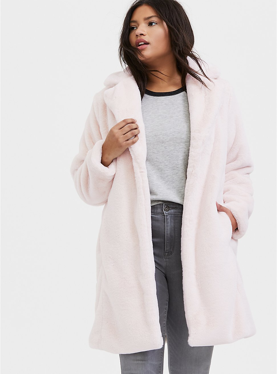 Light Pink Faux Fur Plush Longline Coat, PINK, hi-res
