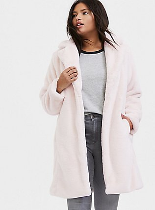 Light Pink Faux Fur Plush Longline Coat, PINK, hi-res