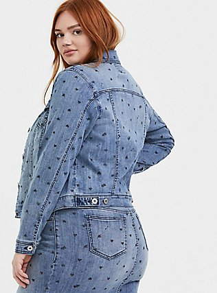 Medium Wash Heart Denim Trucker Jacket, DENIM, alternate