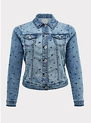 Medium Wash Heart Denim Trucker Jacket, DENIM, hi-res