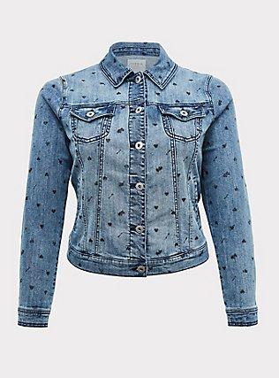 Medium Wash Heart Denim Trucker Jacket, DENIM, flat