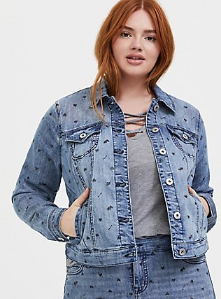 Medium Wash Heart Denim Trucker Jacket, DENIM, hi-res