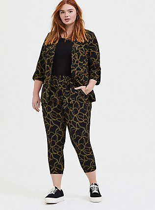 Black Chain Print Crepe Blazer, DEEP BLACK, alternate