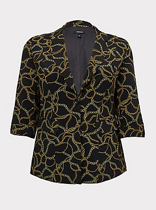 Black Chain Print Crepe Blazer, DEEP BLACK, flat
