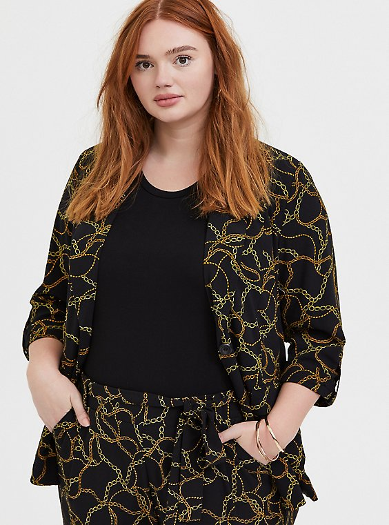 Plus Size Black Chain Print Crepe Blazer, , hi-res
