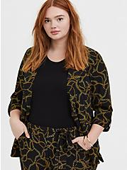 Plus Size Black Chain Print Crepe Blazer, DEEP BLACK, hi-res
