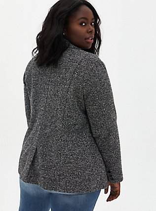 Black & White Boucle Boyfriend Blazer, BLACK  WHITE, alternate