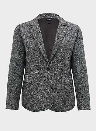Black & White Boucle Boyfriend Blazer, BLACK  WHITE, flat