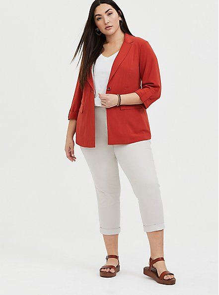 Plus Size Red Terracotta Crepe Blazer, RED, alternate