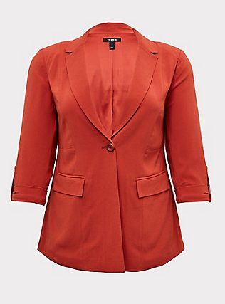 Plus Size Red Terracotta Crepe Blazer, RED, flat