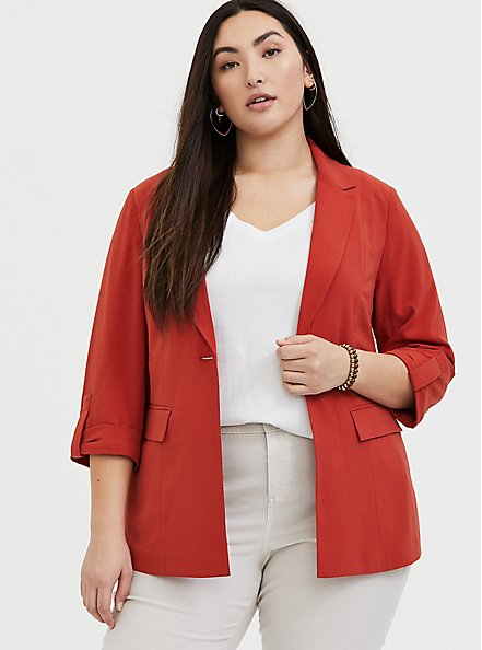 Plus Size Red Terracotta Crepe Blazer, RED, hi-res