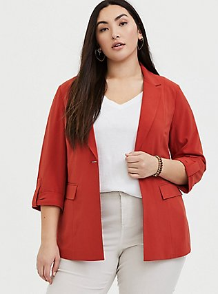 Red Terracotta Crepe Blazer, RED, hi-res