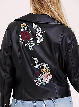 Black Faux Leather Embroidered Moto Jacket, DEEP BLACK, alternate