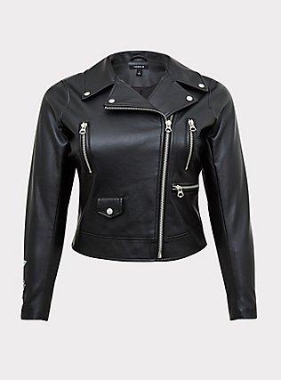 Black Faux Leather Embroidered Moto Jacket, DEEP BLACK, flat