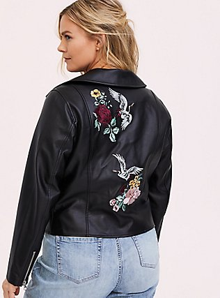 Black Faux Leather Embroidered Moto Jacket, DEEP BLACK, hi-res