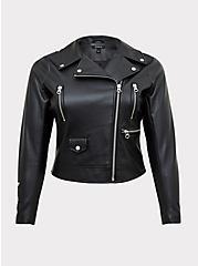 Black Faux Leather Embroidered Moto Jacket, DEEP BLACK, hi-res