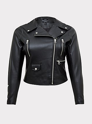 Black Faux Leather Embroidered Moto Jacket, DEEP BLACK, ls